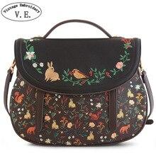 Vintage Embroidery New Original New Forest Handbag Rabbit Bird Print Embroidery Shoulder Messenger Bag Travel Tote Cover Handbag