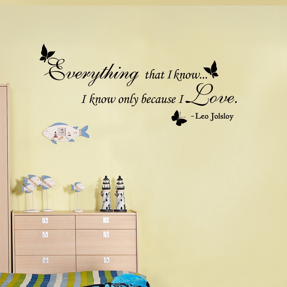 Wedding quote everything that i know only because i love you vinyl wedding quote everything that i know only because i love you vinyl wall sticker home decoration wall quote decal 53 x 22 l in wall stickers from home junglespirit Image collections