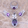 Purple Amethyst White CZ Silver Jewelry Sets Earrings Pendant Ring For Women Size 6 / 7 / 8 / 9 / 10  S0041