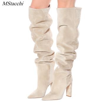 MStacchi kobiety sztuczny zamsz na kolana wysokie buty Slouchy Pointy Toe Chunky Heel Slouch długie buty damskie zimowe buty na obcasie tanie i dobre opinie CN (pochodzenie) Over-the-knee ROME Stałe WJ179 Plac heel WESTERN Krótki pluszowe Szpiczasty nosek Zima RUBBER Super Wysokiej (8cm-up)