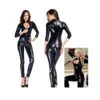 Sexy Women Collar PVC Bodysuit Jumpsuit Sex Product Catsuit Bodycon Clubwear FS99