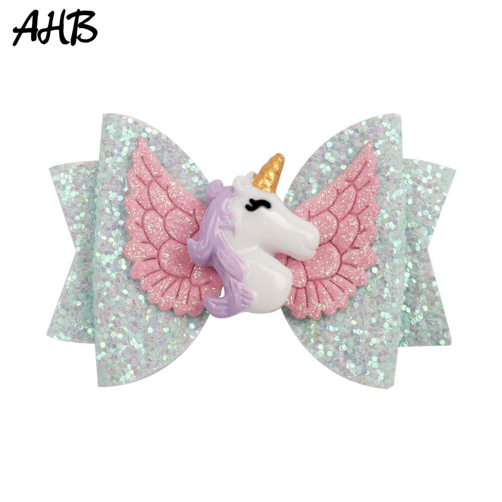 AHB 3 Inch Unicorn Hair Clips for Girls Hair Bows Princess Hairpin Wing Rainbow Glitter Barrettes Hairgrips Kid Hair Accessories