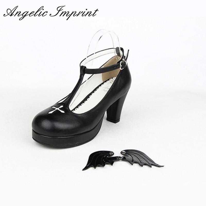 7cm Buckle Strap Women s Chunky High Heel Shoes Black Angel Wings Cross Gothic Lolita Cosplay