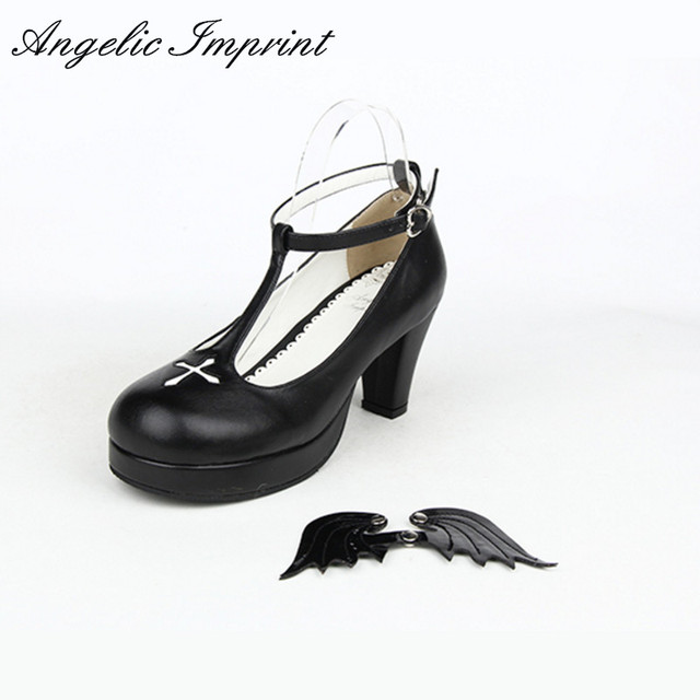 db5505b85361 7cm Buckle Strap Women s Chunky High Heel Shoes Black Angel Wings Cross Gothic  Lolita Cosplay Shoes