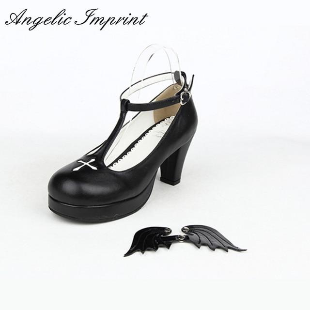 2ae0b7ae50 7cm Buckle Strap Women's Chunky High Heel Shoes Black Angel Wings Cross Gothic  Lolita Cosplay Shoes