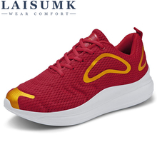 LAISUMK Men Casual Shoes Sneakers Breathable Fashion Lace Up Sweat-Absorbant Walking Plus size 39~47