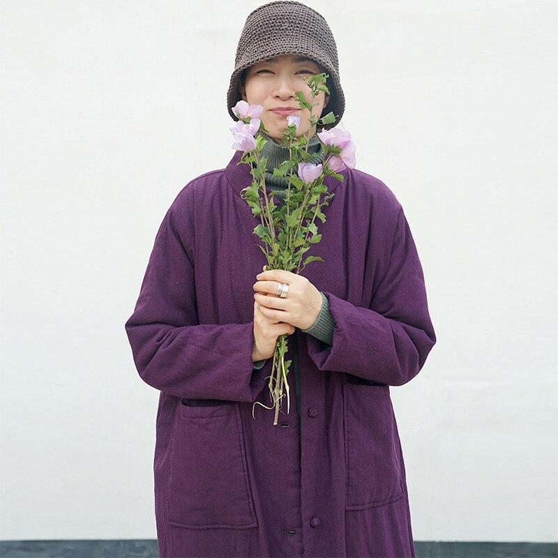 Solide purple Scuwlinen Longues Casual green Linen rembourré Hommes Femmes Parka Coton M668 black Veste Color col Manteaux Chaud Stand 2019 En Vintage D'hiver Lâche Épais rXqSxXAz