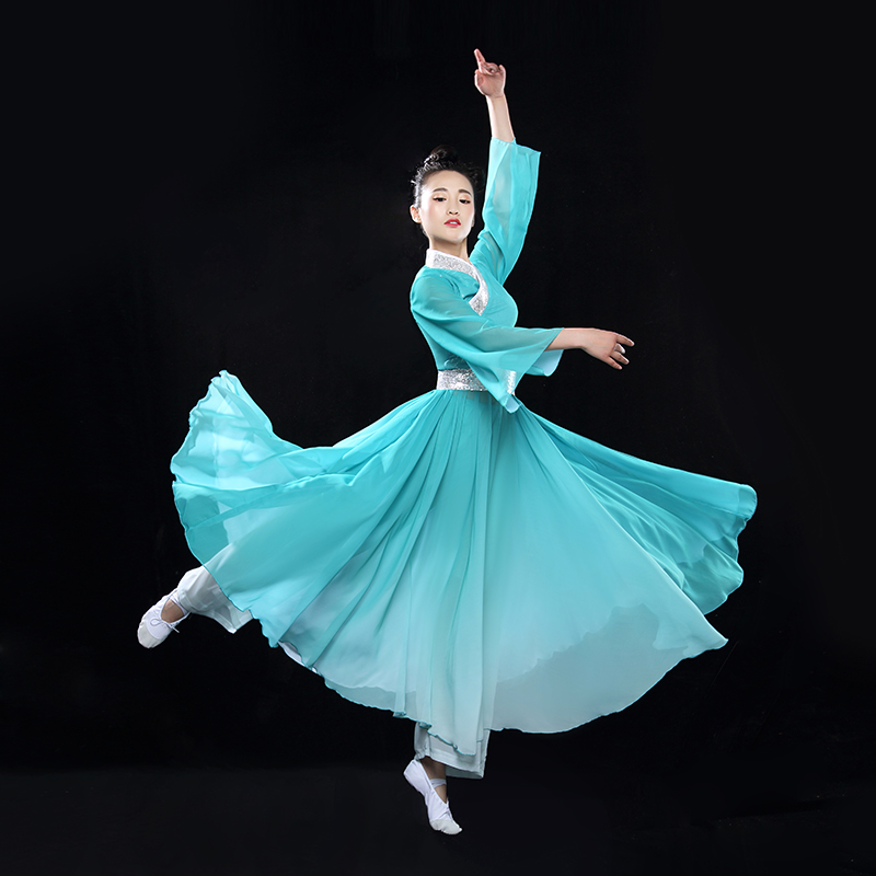 ac8b9dc71ce5 Discount!! (0149) new woman blue big swing classical dance costumes ...