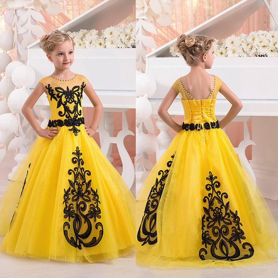 2017 New Yellow Black Cute Girl Pageant Dresses Cap Sleeves Backless ...