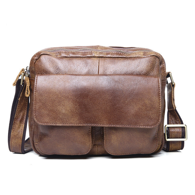 ФОТО Men's Genuine Leather Shoulder Bag Messenger Bag School Bag Cross body