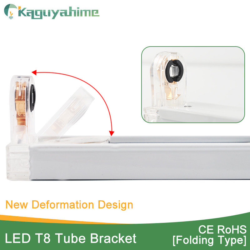 Kaguyahime Fluorescent <font><b>Bracket</b></font> Foldable Fixture <font><b>T8</b></font> LED <font><b>Tube</b></font> Socket For 2Ft 60cm 600mm Lamp <font><b>Tube</b></font> Light /Support/Base/Holder image