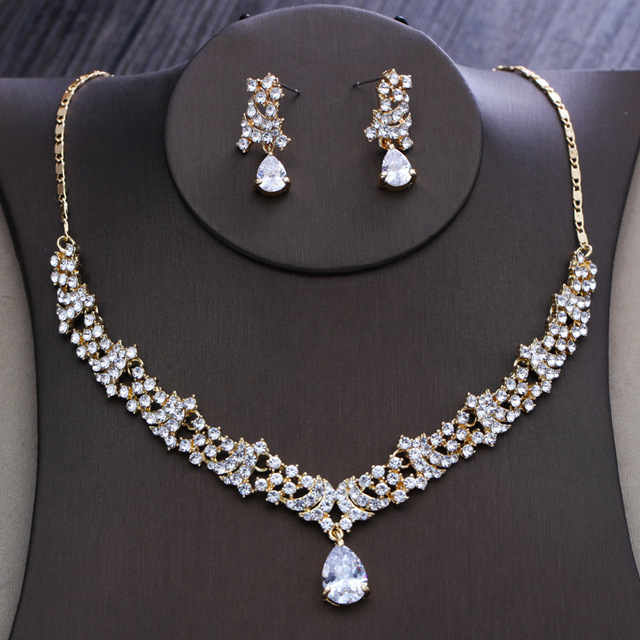 Dower me Gold Rhinestone Women Party Prom Jewelry Set Crystal