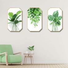 Modern simplicity INS Home decoration customize Hotel restaurant mural Creative octagonal home Small fresh green leaves painting