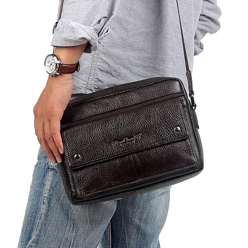 Brand Genuine Leather Messenger Bags For Men Bag Mens Shoulder Bag For Men's Belts From Real Leather Handbags Small Square Bag bag female new genuine leather handbags first layer of leather shoulder bag korean zipper small square bag mobile messenger bags