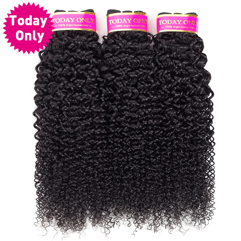 [TODAY ONLY] Malaysian Curly Hair 3 Bundles Deals Kinky Curly Weave Human Hair Bundles Non Remy Hair Extension Natural Color