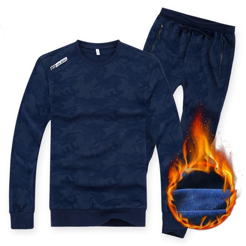 130 kg peut porter grand costume de Sport de taille hommes garder des sweats à capuche chauds ensembles Camouflage motif tissu polaire 7XL 8XL hiver course Gym costumes