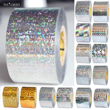 1 roll 120m*4cm Holographic Nail Foil Holographic Gold Laser Silver Nail Art transfer Decal Foil Sticker Decals Nail Decoration royal blue starry sky holographic nail art transfer foil nails sticker decals nail tip decoration 5cm 120m roll