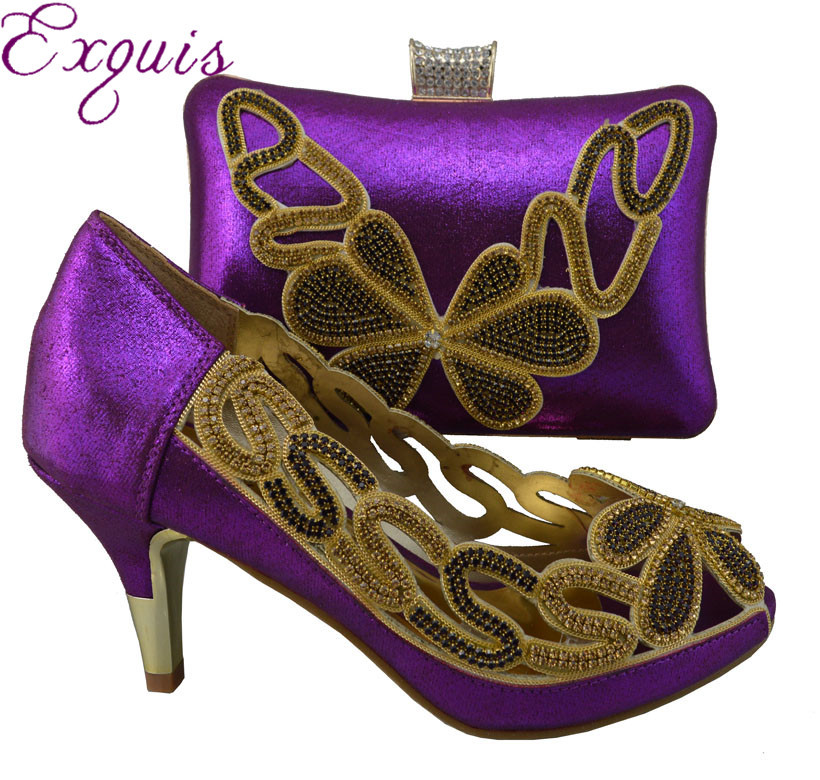 ФОТО Free Shipping!! 2015 NEW ARRIVAL ladies design high quality shoes and matching bag for party 1308-L35 purple size 38-42