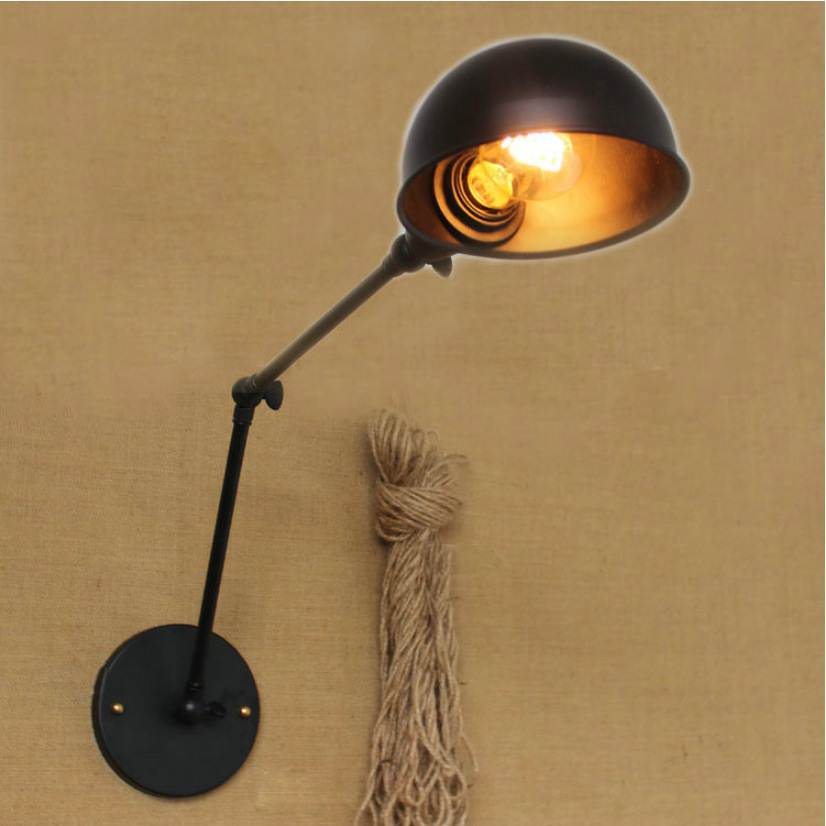 Newest Vintage industrial style loft creative minimalist long arm wall lamp adjustable Handle Metal Rustic Light