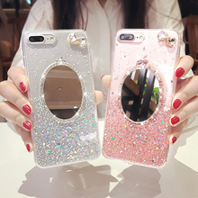 Glitter Mirror Case For iPhone 6 s 6s 7 8 plus XS Max XR Rhinestone Bling Sequins Makeup for 8plus 6plus Cases