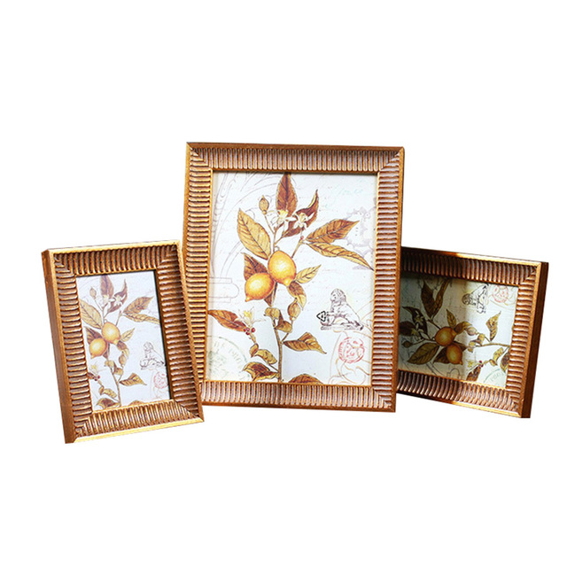 White Gold Wedding Photo Frames American Style Solid Wood Mini ...
