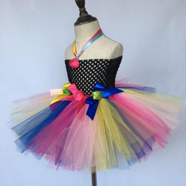 b2d51474c0349 Multicolore filles fleur Tutu robe bébé 2 couches moelleux Tulle robe  Ballet danse Tutu avec ruban