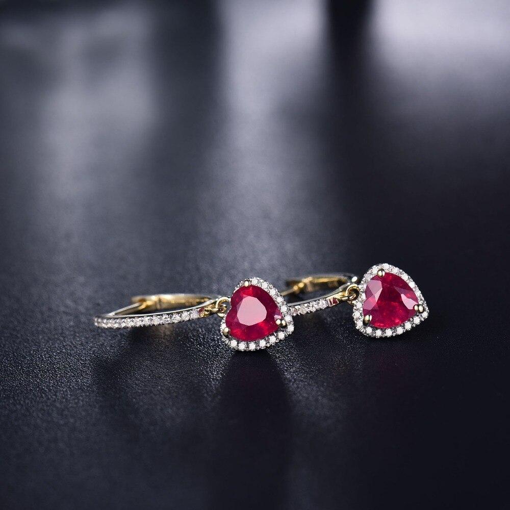 Loverbijoux femmes bijoux fins boucles d'oreilles Vintage coeur 6x6mm solide 14k or jaune diamant cadeau de mode rouge rubis boucles d'oreilles - 4