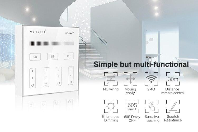 Mi Light B1 4-Zone Brightness Dimmer Smart Touch Panel Remote - Լուսավորության պարագաներ - Լուսանկար 6