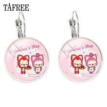 TAFREE Peach and Ali the fox Hans Clip On Earrings Valentine's Day gift Earrings Ear Cuff Chinese Cartoon Jewellery AL43(China)