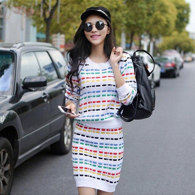 2016 Autumn Long Sleeve Striped Knitted Crop Tops + Skirt Suit Brand Pullovers Sweater Short Skirt Set Women Two Piece Set dress