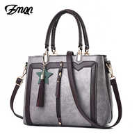 ZMQN Women Handbags Famous Desingser Brands Bags Women Leather Handbags Bag For 2019 Simple Tsssel Shoulder Bag Gray Bolso A922