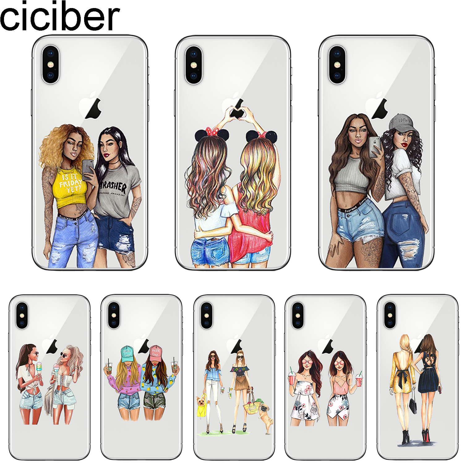 ciciber <font><b>Girls</b></font> Best Friend <font><b>Girl</b></font> <font><b>for</b></font> <font><b>iphone</b></font> 11 Pro Max Coque <font><b>Cover</b></font> <font><b>For</b></font> <font><b>iPhone</b></font> 7 Case 8 <font><b>6</b></font> 6S Plus X XR XS Max 5S SE Phone Case TPU image
