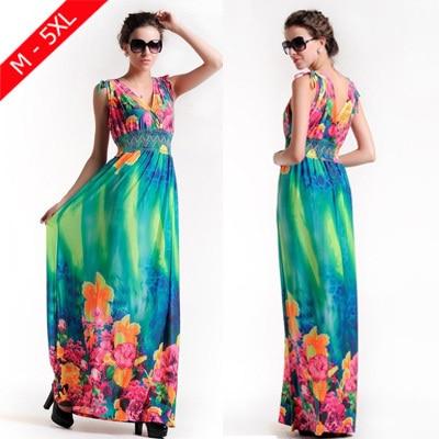 Bohemian 2015 Summer Style Women s Print Foral Beach Maxi Dress Women Plus  Size 5XL Backless Long Chiffon Dresses Robe Beachwear 563761b33e45