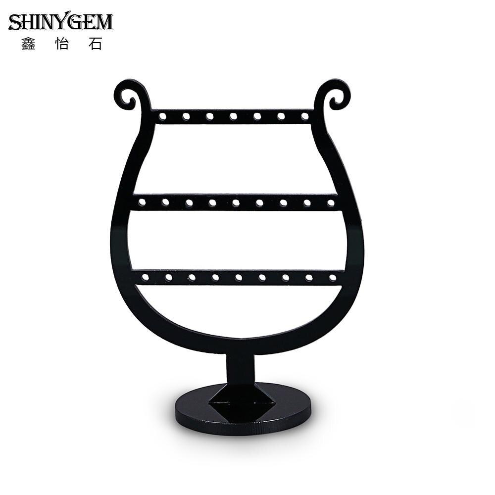 ShinyGem Small Earrings Display Holder Glass Shape Black Acrylic Earrings Jewelry Display Organizer Stand Earrings Hanger Holder