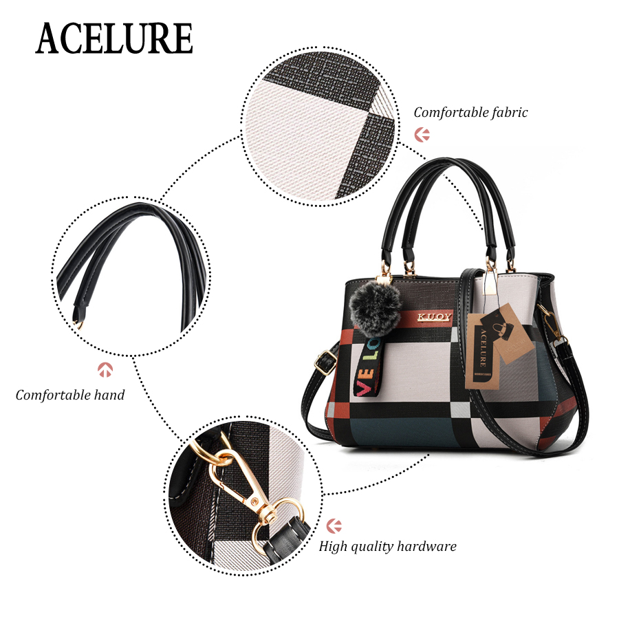 Image 3 - ACELURE New Casual Plaid Shoulder Bag Fashion Stitching Wild Messenger Brand Female Totes Crossbody Bags Women Leather Handbags-in Shoulder Bags from Luggage & Bags