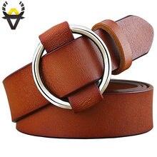 Ceintures en cuir véritable femmes | Boucle d'anneau ronde à la mode, ceintures pour femmes, qualité peau de vache ceinture féminine pour jeans largeur 2.8 cm