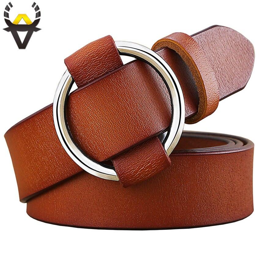 Mode Runde Ring schnalle gürtel frau Echtem leder gürtel für frauen Qualität kuh haut strap weibliche gürtel für jeans breite 2,8 cm