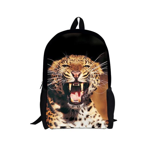 Unique 16 pulgadas bolso de escuela los niños dinosaurio animal leopard impresión mochilas escolares para los niños cool kids schoolbag mochila infantil