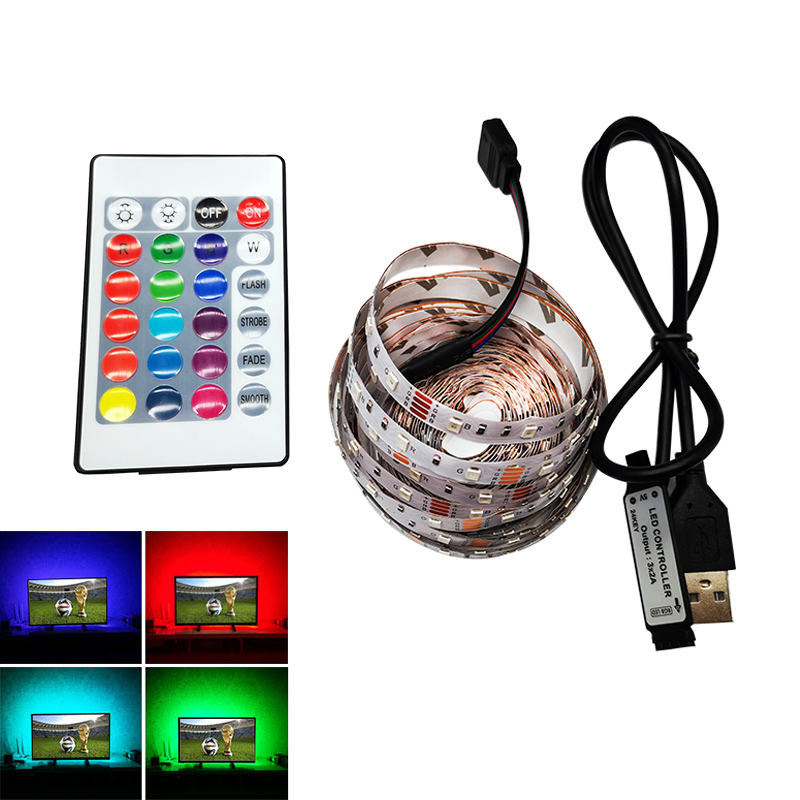 LED SMD 3528 5V Color Changing Rope Strip 0.5m-5m 60leds/m for PC/TV Backlight Flexible with IR Remote controller USB cable Kit