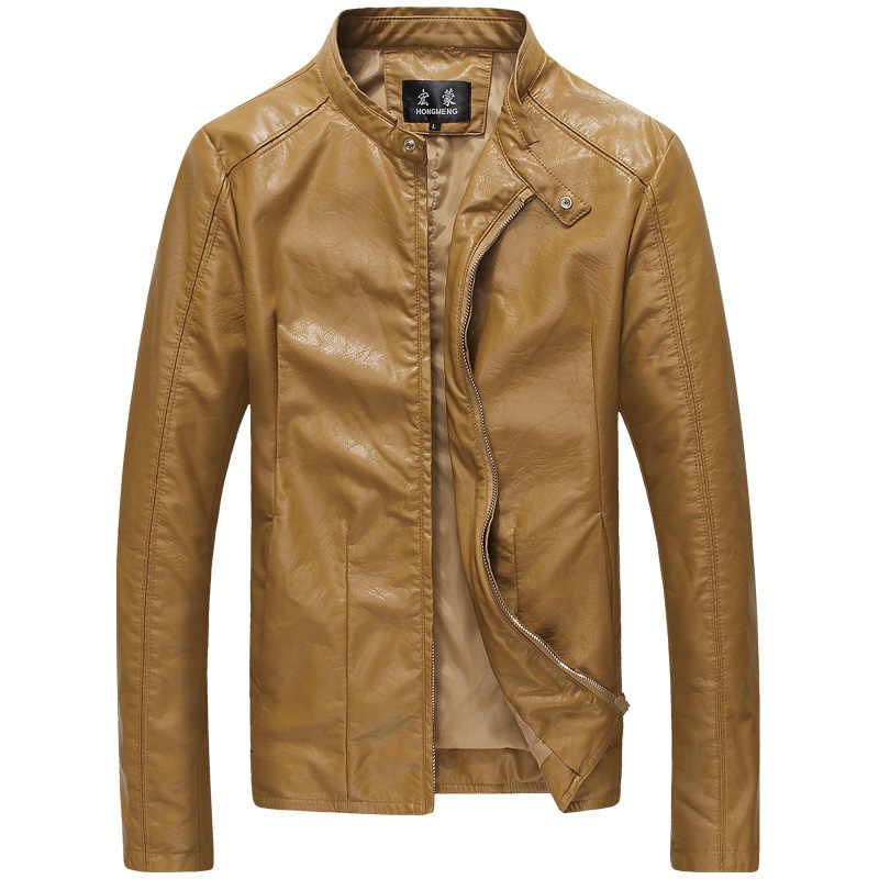 b924fc17a35 ... 2019 Brand New Autumn Winter Men s Faux Leather Jacket Men Vintage  Jackets Fashion Coat Style Coats ...