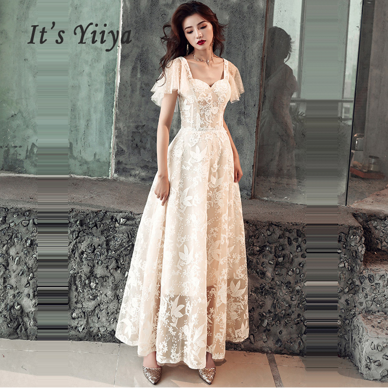 It's Yiiya Evening Dress Lace Women Party Dresses Backless Zipper Robe De Soiree 2019 Plus Size Short Sleeve Formal Gowns E686