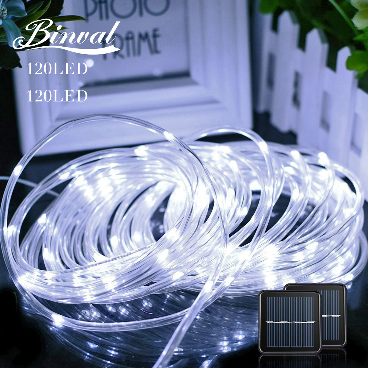Binval Solar Rope Lights 120 LEDs Holiday Lighting Christmas Decoration Mariage Fairy Lights Party Wedding Decoration 2 Pieces