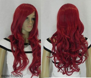Women Responsible New Womens Red Long Curly Cosplay Full Wig Weaving Cap Cosplay Temp Heat Resistant Hair Wigs Suitable For Men And Children