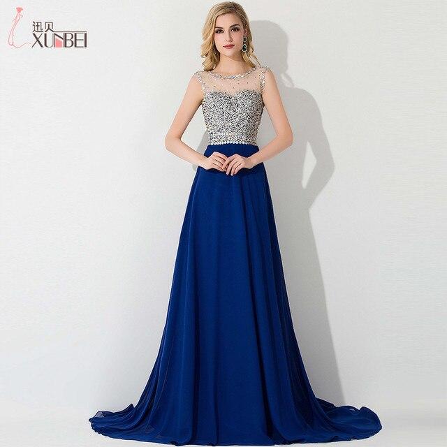 2648f9599f1 Real Photo De Mode Sans Manches Bleu Royal Robes De Bal 2017 Avec perles et  Paillettes ...