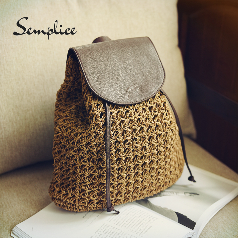 Summer Hollow Out Drawstring Hasp Straw Bag School Bag Knitting Backpacks Beach Bag For Travel Holiday Ladies Free Shipping 2018
