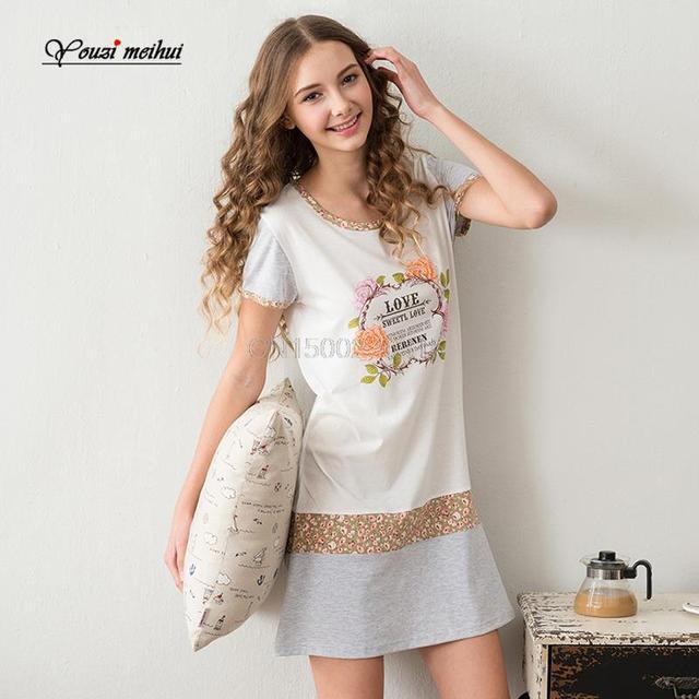 Corta de algodón delgado femenino camisón de verano de manga de la falda delgada estilo fresco jardín algodón equipamiento del hogar traje