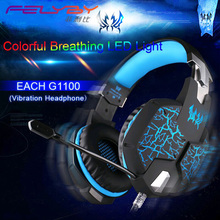 Original G1100 Shake E-Sports Game Headset Dual 3.5 + USB Luminous Shock with 7.1 Bass Surround with PS4 PC Game
