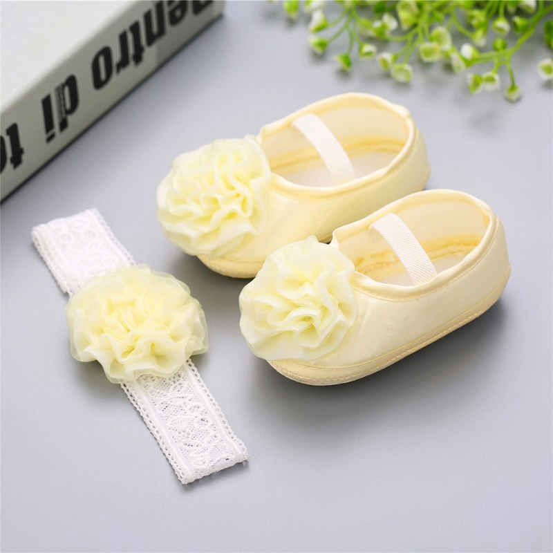 2pcs Baby Girl Sapato Bebe Menina Rosset Shoes Rhinestone Flowers Headband Barefoot Infant Baby Girl Shoes Set