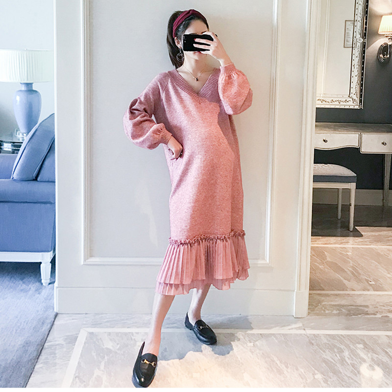 Knitted Maternity Fishtail Dresses Thick Full Sleeve V-Neck Sweater Maxi Long Dress for Pregnant Women Maternity Clothings stylish round neck long sleeve solid color slimming sweater for women