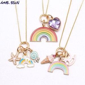 MHS.SUN новый дизайн, Очаровательное ожерелье diy для детей, девочек, ожерелье с радужной подвеской из мороженого, Детская цепочка, ожерелье, 1 шт.